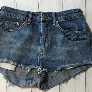 Divided H&M Hola Chica Cut off Jean Shorts Sz 8